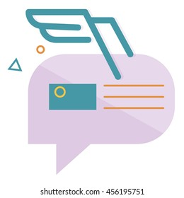 character dialogue combined with the image of the envelope with the blue wings of the lines, with abstractions,vector flat icons, web element infographics