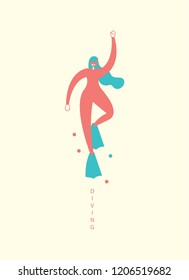 character diving vector