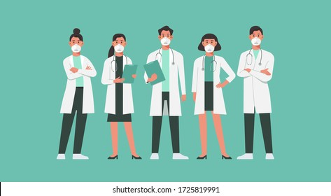character of doctors and nurses wearing a n95 face mask and standing together to fight COVID-19, male and female medical characters set cartoon flat vector illustration