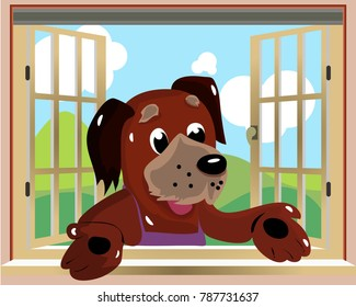 Character dog looking out the window where the nature background, cartoon illustration, vector