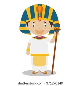 Character from  Egypt dressed in the traditional way as a pharaon of the Ancient Egypt. Vector Illustration. Kids of the World Collection.