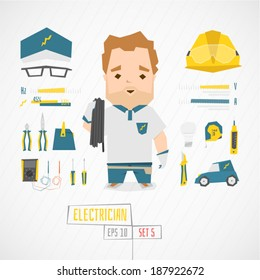 Character electrician vector illustration