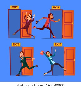 Character Evacuation To Open Door Exit Set Vector. Collection Of Evacuation Businessman And Young Woman Panic Running Out Of Building. Alarm Signalization Flat Cartoon Illustration