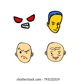 Character expression / Hand drawn face illustrations - vector