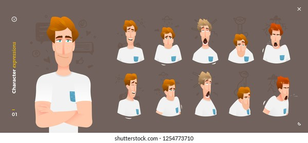 Character expressions. Face emotional