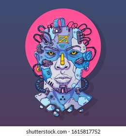 Character Face in futuristic virtual style. Cyber Punk Vector Illustration. Cartoon art for web and print. Trendy Cyber Art Poster.