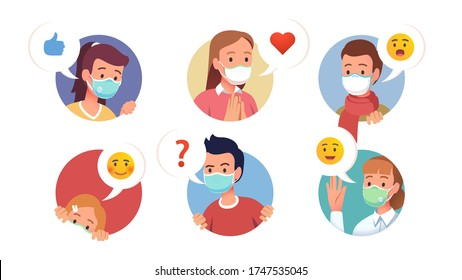 Character faces wearing masks collection. Various expressions & gestures looking out of circles. Peeking, happy, surprised, curious, embarrassed, waving hand. Flat vector cartoon illustration set