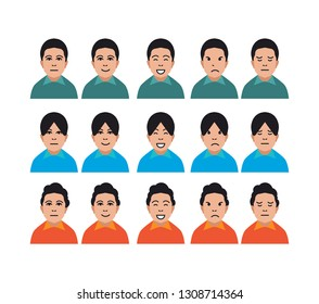 character facial face emotion and expressions flat illustrations for website