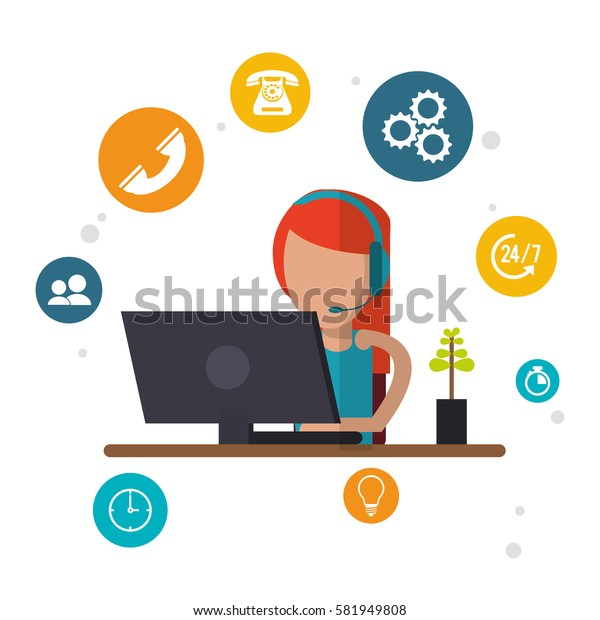 character female call center workspace