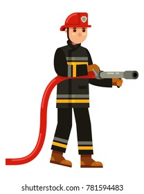 character fireman holding a water hose in flat style vector illustration