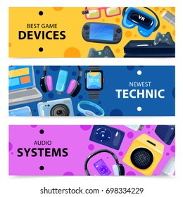 Character geek nerd horizontal banners collection with doodle images of various portable electronic devices and gadgets vector illustration