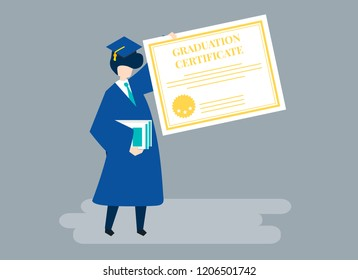 Character of a graduate holding a graduation certificate illustration