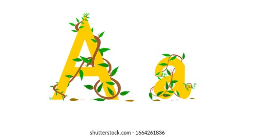 Character graphic A,a. winding vine wrapped around.