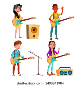 Character Guitarist Playing On Instrument Vector. Happy Smiling Boy And Girl Electric Guitarist Standing Near Tape Recorder, Microphone And Music Speaker. Musician Flat Cartoon Illustration