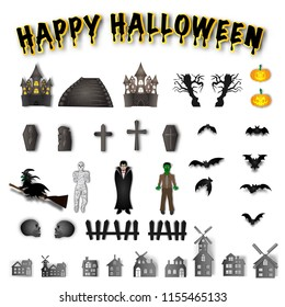 The character halloween collections and propertie on white background as happy day and party concept. vector illustration.