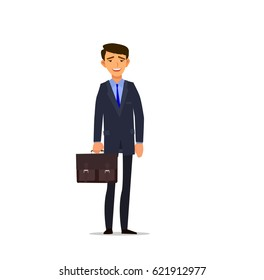 character of happy businessman. Vector illustration in a flat style