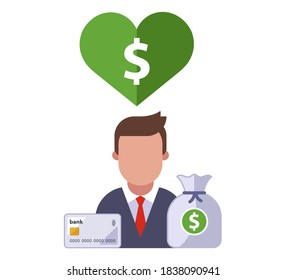 character icon with heart and dollar sign inside. love of money. flat vector illustration.