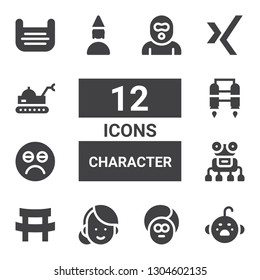 character icon set. Collection of 12 filled character icons included Cry, Face, Woman, Katana, Robot, Sad, Jet pack, Birthday girl, Xing, Mask, Burglar