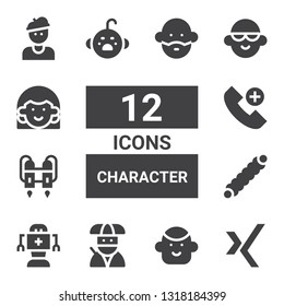 character icon set. Collection of 12 filled character icons included Xing, Avatar, Ninja, Robot, Caterpillar, Jet pack, Emergency call, Cry, Artist