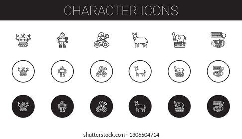 character icons set. Collection of character with robot, donkey, elephant. Editable and scalable character icons.