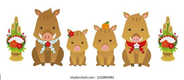 Character illustration of boar family. Japanese New year card.