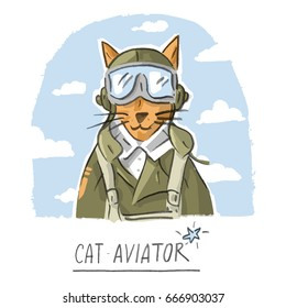 Character illustration with cat aviator