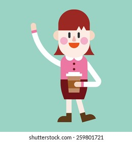 Character illustration design. Businesswoman drinking coffee cartoon