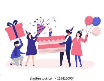Character illustration of people holding birthday party icons