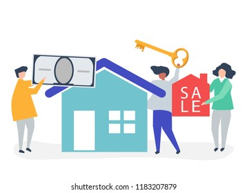 Character illustration of people selling house