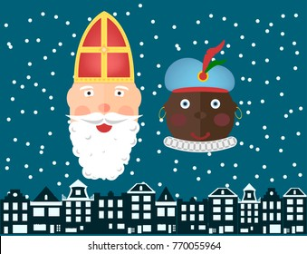 Character illustration of Sinterklaas or Saint Nicholas and Zwarte Piet - Dutch Santa Claus and black Pete. Christmas holiday vector Design.