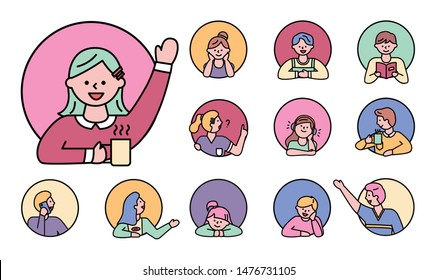 Character kids in window, isolated circles set line pupils female and male personages. Personage reading books, bookworm student listening music in headphones. People face in action round color icons