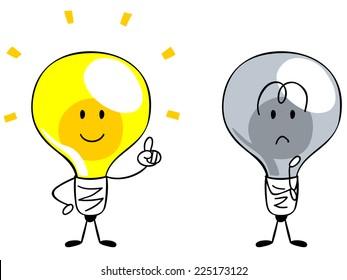 Character of the light bulb, inspiration Idea