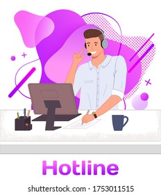 Character male call center hotline. Online support worker, telephone service operator. Dispatcher, workplace of customer support manager at computer desk. Remote service specialist with headphone