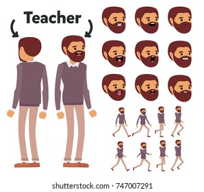 Character is a male teacher. The character is ready for animation. Walk Animation.