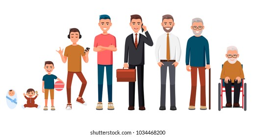 Character of a man in different ages. A baby, a child, a teenager, an adult, an elderly person. The life cycle. Generation of people and stages of growing up. From infant to grandparents.Cartoon style