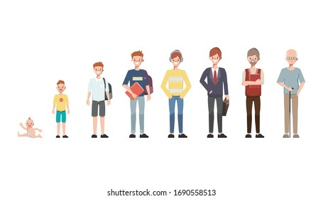 Character man in different ages. A baby, a child, a teenager, an adult, an elderly person. The life cycle. Generation of people and stages of growing up. Vector illustration in cartoon style.