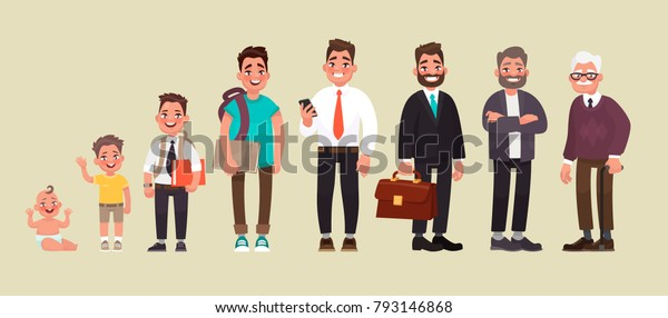 Character of a man in different ages. A baby, a child, a teenager, an adult, an elderly person. The life cycle. Generation of people and stages of growing up. Vector illustration in cartoon style