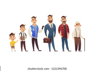 Character of man in different ages child teenager adult elderly person life cycle generation of people isolated