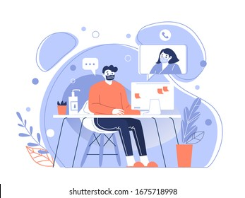 The character of the man in a protective medical mask communicates remotely over the network. Stay home during the coronavirus pandemic. Home quarantine. Vector illustration.