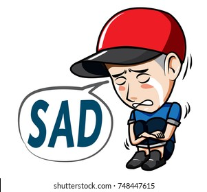 The character Man wearing hat with Caption Sad