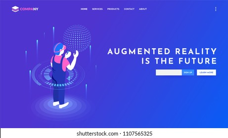 Character of man wearing vr glasses interact with virtual interface. Website banner or template design for Augmented reality concept.