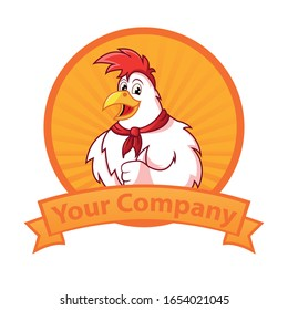 Character or mascot chicken with a frame, suitable for restaurants