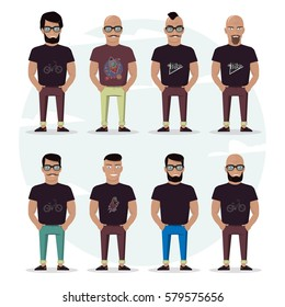 Character mens set on a white background. People with a beard, bald, with a mustache and glasses. Stylish high detailed graphic. Cartoon male. In fashion clothes.