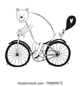 Character monochrome vector illustration of bear riding bicycle, bird and heart, valentine's card