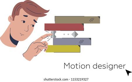 Character motion designer freelancer, designer, man flat stroke style– stock illustration