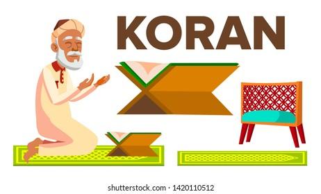 Character Muslim Old Man Reading Koran Vector. Prayer Sticking To Koran, Home And In Mosque, Item For Studying Allah Book. Islamic Religion And Ramadan Kareem Flat Cartoon Illustration