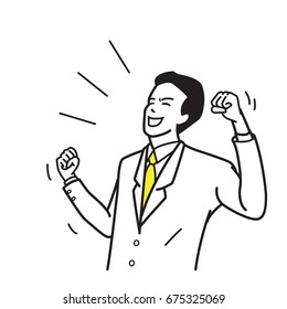 Character of office worker, businessman, suite man, holding fists, celebrating, shouting, happy, excited, winning in success. Outline hand draw, sketch design, simple style.
