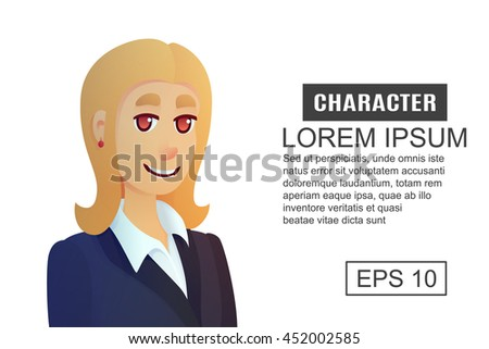 Character Office Worker Woman Cartoon Illustration Stock