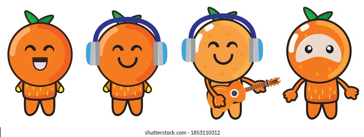 The character of an orange fruit mascot in a cute and funny style is playing guitar and listening to music