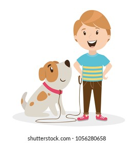 character of a person. the boy is walking with a dog. home pet. vector